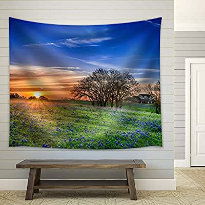 Classic Artwork, Alluring Design, Mountain Field with Blue Flowers