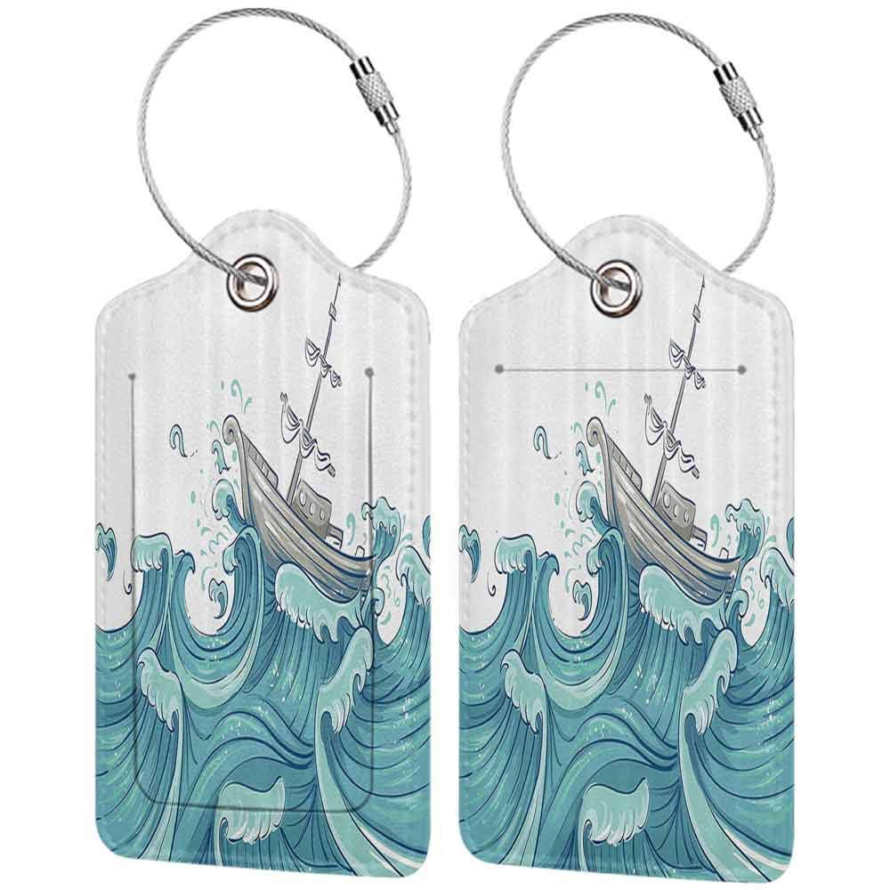 Printed luggage tag Nautical Decor Illustration Of A Ship Being Tossed By Giant Ocean Waves Aquatic Old Vessel Sea Journey Protect personal privacy Blue Grey W2.7 x L4.6