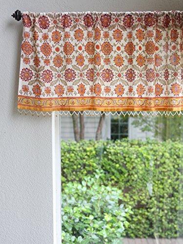 Saffron Marigold – Orange Blossom – Orange, Yellow, and White Floral Mediterranean Inspired Hand Printed – Beaded Sheer Cotton Voile Window Valance Curtain – Rod Pocket – (46