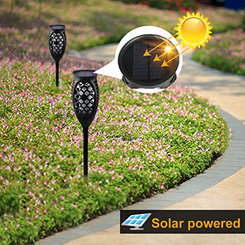 Juhefa Solar Lights Outdoor, Solar Torch Light Green Flickering Flame 99 LED Waterproof Garden Lighting Pathway Patio Landscape Decoration, 3 Modes & 3 Installation Ways, Dusk to Dawn Auto On/Off (4) by Juhefa (Image #3)