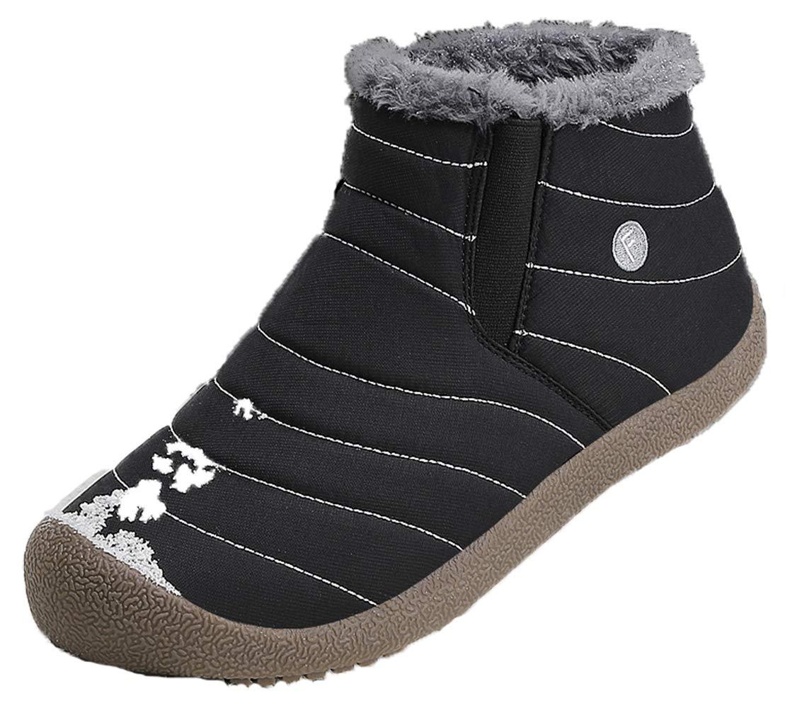 LSGEGO Men Women Snow Boots Fully Fur Lined Water Resistant Hiking Boots Anti-Slip Outdoor Winter Snow Shoes Trekking Unisex (Women 8.5=Men 7, Black)