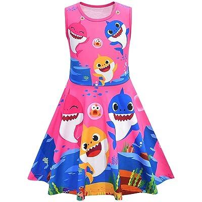 AOVCLKID Toddler Girls Baby Princess Dress up Shark Cartoon Print Party Gown Dress: Clothing [5Bkhe1401607]