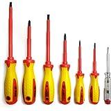 S&R Set di Cacciaviti da Elettricista Isolati, 7 giraviti a norma VDE con Professionali con tester di tensione SL-PH. Qualità Professionale