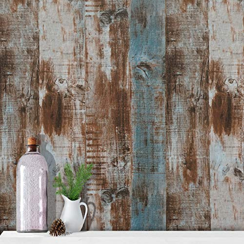 - 17.7''x118''Wood Peel and Stick Wallpaper Wood Contact Paper Wood Wall Paper Removable Self Adhesive Faux Distressed Rustic Wood Grain Texture Film Vintage Reclaimed Panel Decorative Wall Covering
