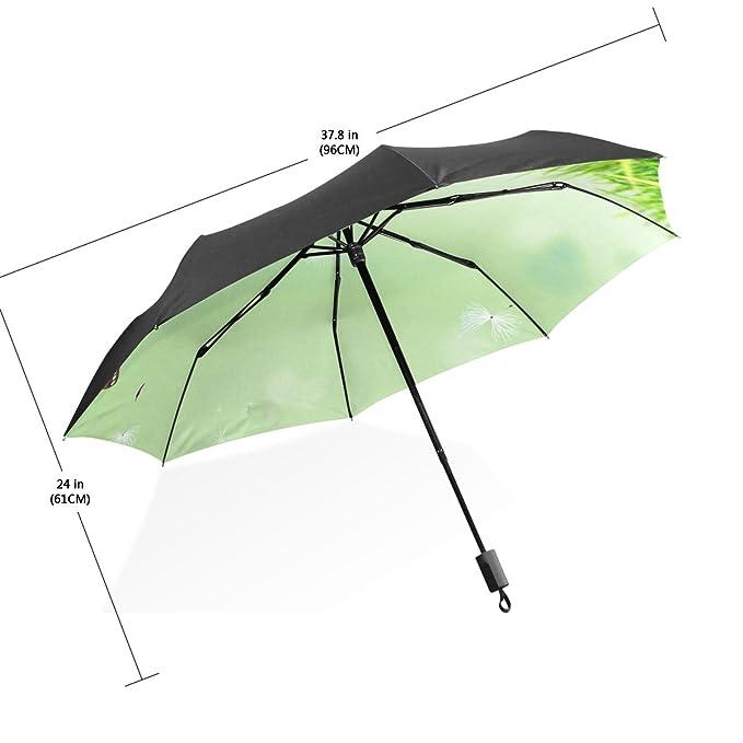 baihuishop 3 plegable con mariposa naturaleza patrón UV paraguas, ultraligero, plegable sol/lluvia