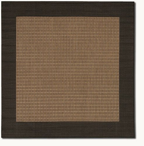 Couristan 1005/2500 Recife Checkered Field Cocoa/Black Rug, 7-Feet 6-Inch Square