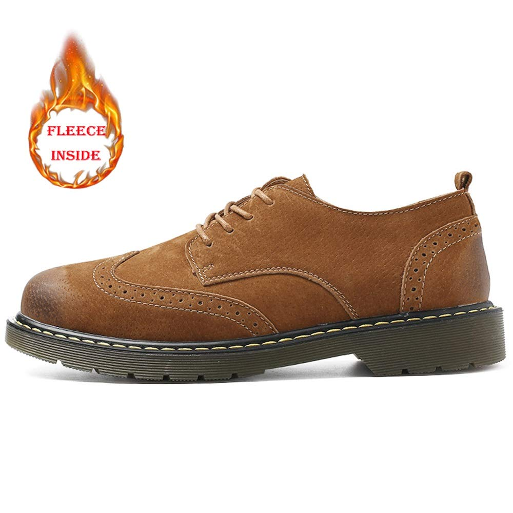 Warm Brown SRY-Fashion shoes Men's Fashion Oxford Casual Classical Carving Lace Up Faux Fleece Inside Brogue shoes(Ceremonious Optional) Comfortable Casual shoes
