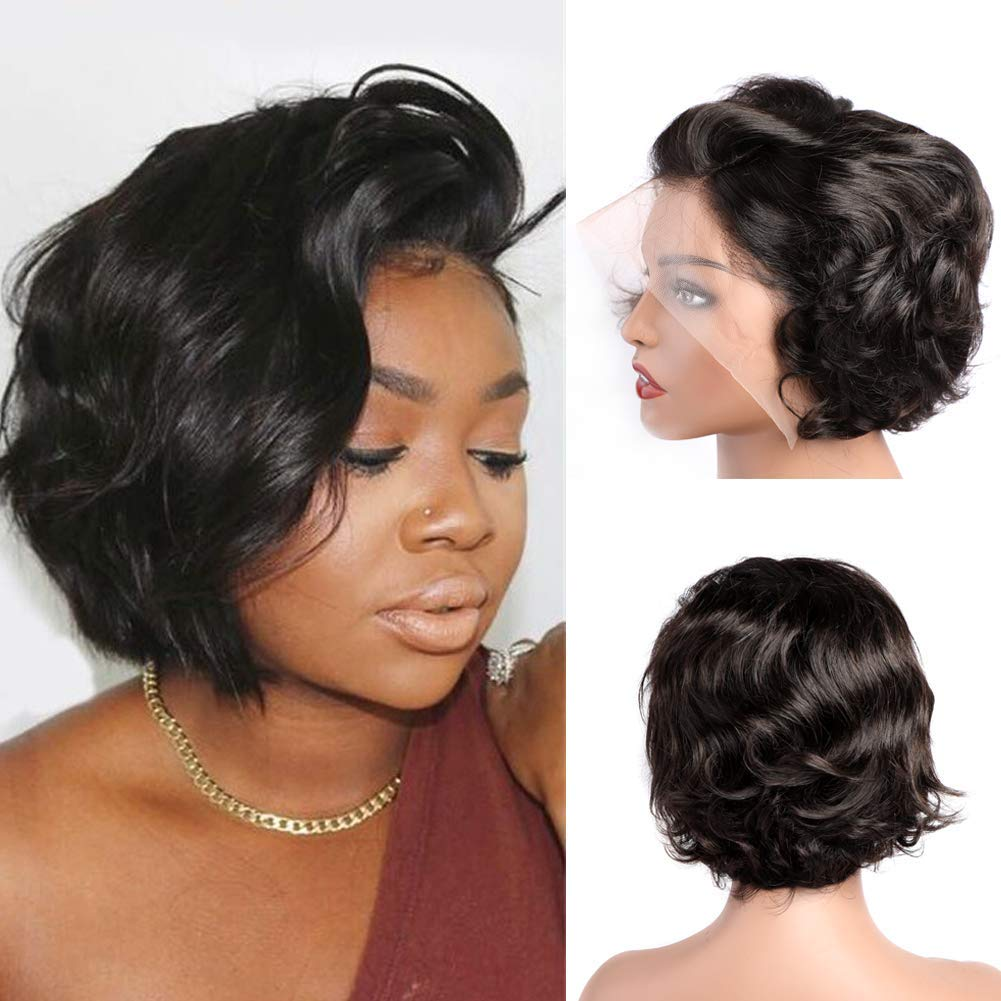 Amazon.com: MsSunlight Pixie Wig Lace front Wigs Human Hair, 11