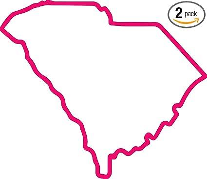 Amazon Com South Carolina Map Outline Pink Set Of 2 Premium