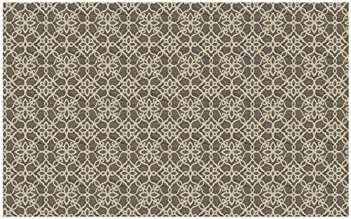 2-Piece Washable Rug System Floral Tiles Rich Grey & White (Tile Rug)