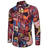 Mens Long Sleeve Shirt ! Charberry Mens Printed Top Fashion Printed Blouse Casual Long Sleeve Slim Shirts Tops (US-L2 /CN-L3, Red)