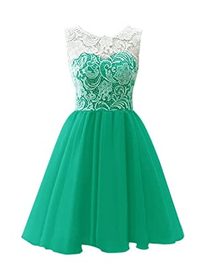 Guqier Dress Women's Jewel Lace Prom Dress Homecoming Party Dress Covered Buttons