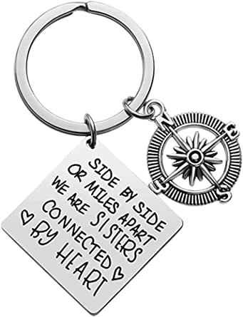 Sister Gift from Sister,Sister Keychain Side by Side or Miles Apart We are Sisters Connected by Heart Keyring Best Friends Women/Girl Birthday Christmas Friendship Gifts Jewelry