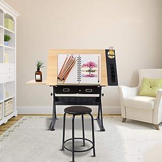 GOTOTOP Verstellbarer Zeichentisch Architektentisch Arbeitstisch Bürotisch mit Hocker und Schubladen, 120 x 60 x 77.5cm