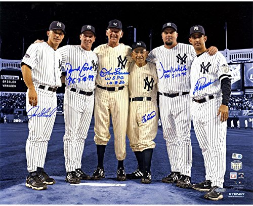 MLB New York Yankees Perfect Game Battery Mates Signed Metallic Blue Background 16x20 Photo