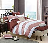 Getmorebeauty Striped Soft Bed Quilt Doona Duvet Cover Set Queen Size (Pink)