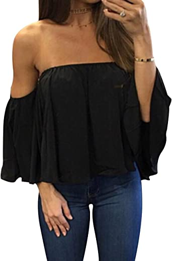 FANSHONN Womens Short Sleeve V-Neck Off Shoulder Lace T-Shirt Loose Casual Blouse Tops