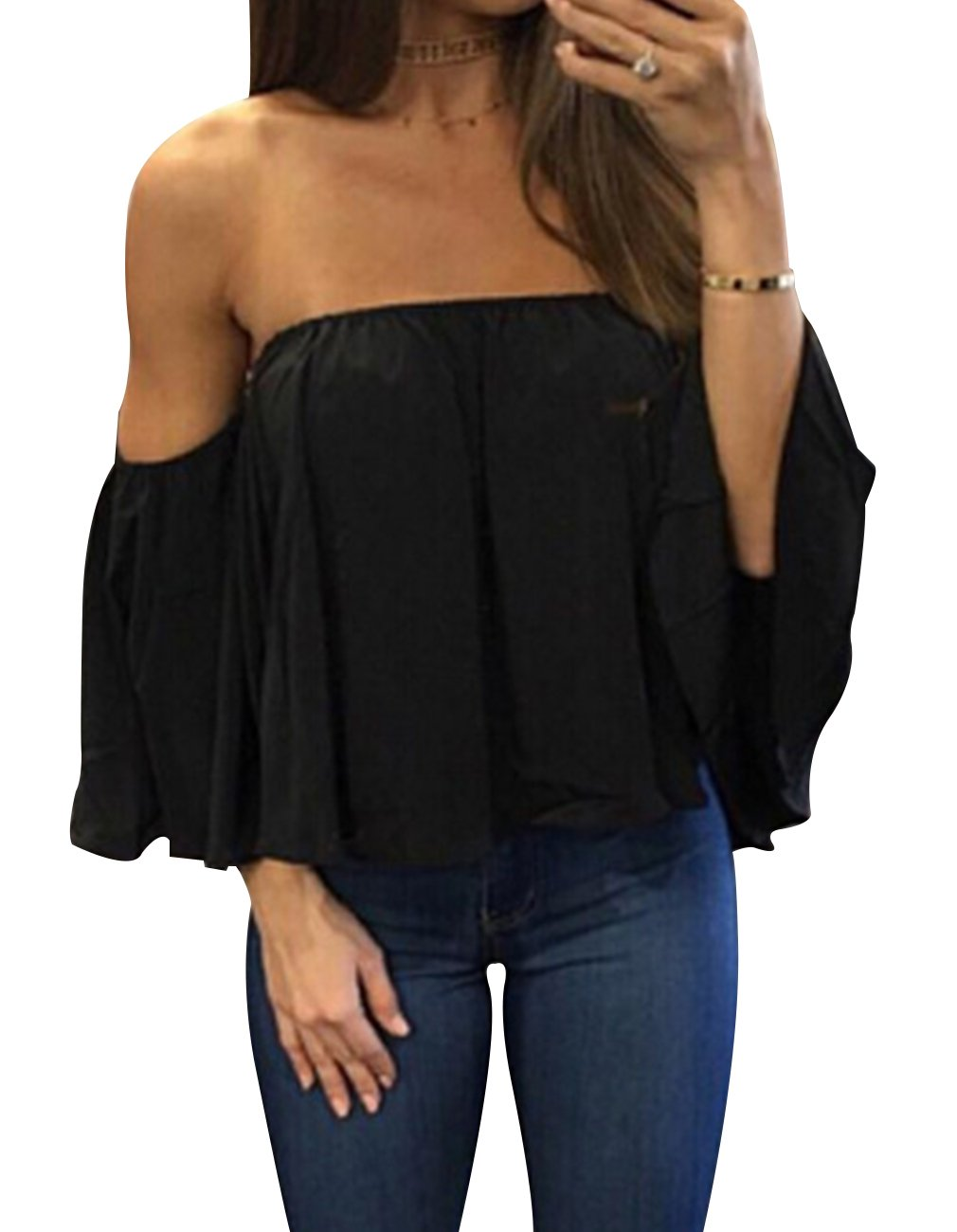 Women's Summer Off Shoulder Chiffon Blouses Short Sleeves Sexy Tops Shirt Fashion Casual Ruffles Solid Loose Fit Blouses T Shirt (S, Black)