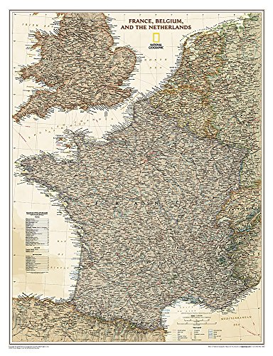 National Geographic: France, Belgium, and The Netherlands Executive Wall Map (23 x 30 inches)...