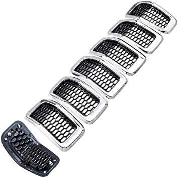 Black Mesh Grille + Chrome Moulding Trim Astra Depot Compatible with 2014-2018 Jeep Cherokee 4-Door Grille Grill Cover Trim Insert Kit 7pcs