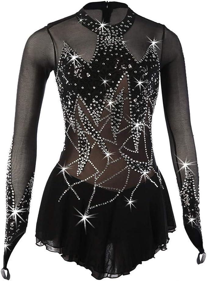 SHANGN Eiskunstlauf Kleid Frauen M/ädchen Professionelle Wettkampfkleidung Rhythmische Gymnastik Trikot Tanzkost/üme Handgemachte Skating Wear,Black-175