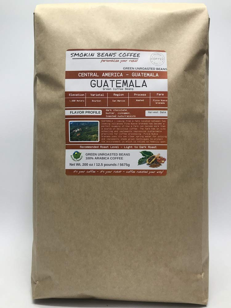 12.5 Pounds - Central American - Guatemala - Unroasted Arabica Green Coffee Beans - Grown in San Marcos Region - Altitude 1800M - Drying/Milling Process Washed - Finca Nueva Granada by Smokin Beans