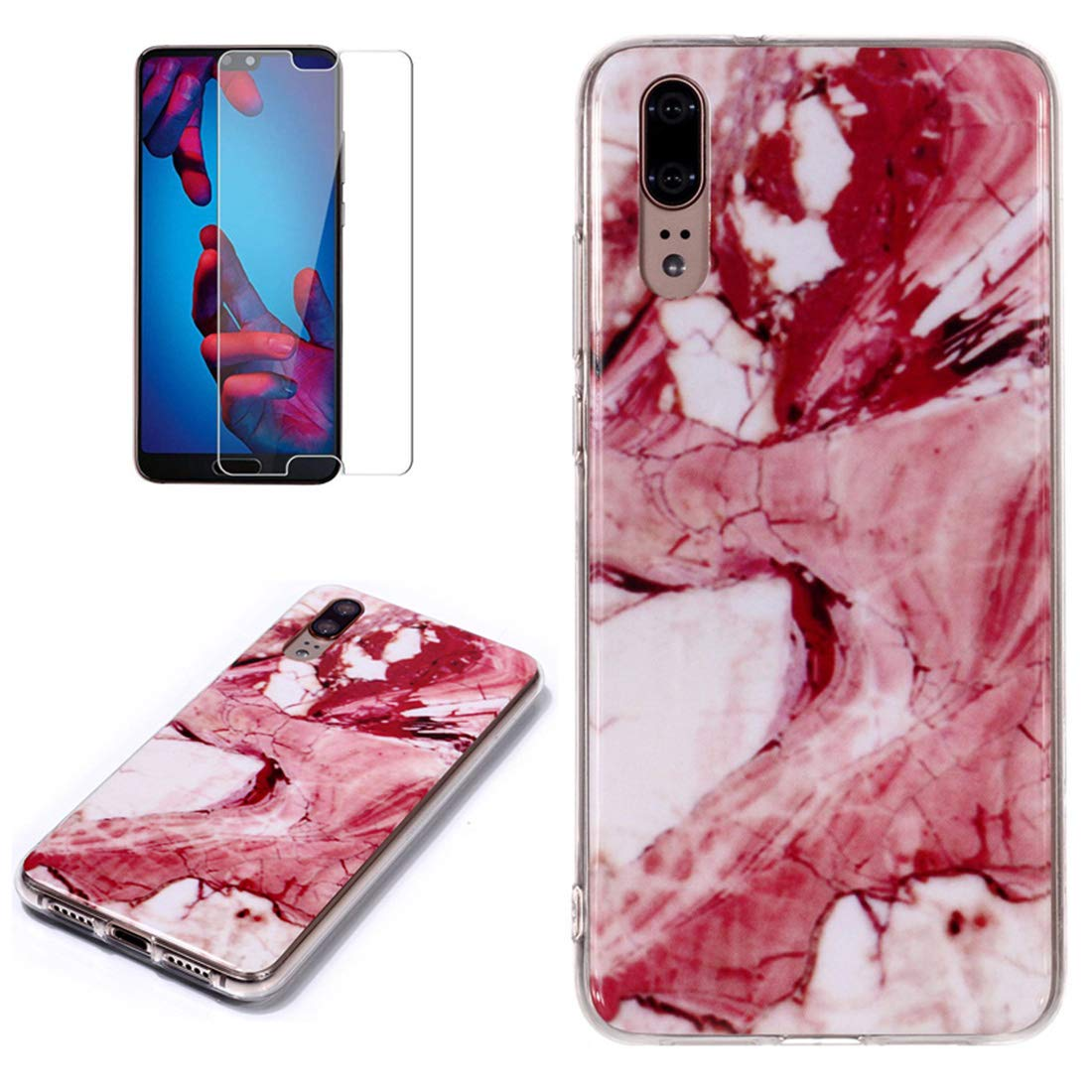 for Huawei P20 Pro Marble Case with Screen Protector,Unique Pattern Design Skin Ultra Thin Slim Fit Soft Gel Silicone Case,QFFUN Shockproof Anti-Scratch Protective Back Cover - Red Texture by QFFUN (Image #1)