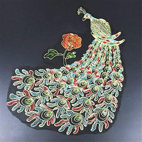 (Phoenix Peacock Lace Dress Decor Applique Motif Lace Trim DIY Craft Embroidered (Pattern - #2))