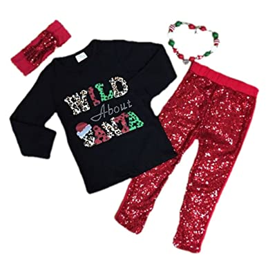 b1dd78aa36f61d Cute Kids Clothing Baby Girl Christmas Outfit Wild About Santa Toddler Girl/Girls  Sequin Leggings