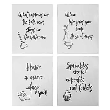 4 Lustige Badezimmer Zitate Zeichen Typografie Amazon De Kamera
