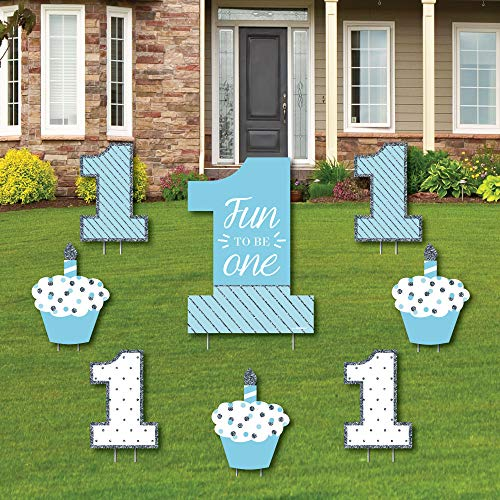 1st Birthday Boy - Fun to be One - Yard Sign & Outdoor Lawn Decorations - First Birthday Party Yard Signs - Set of ()