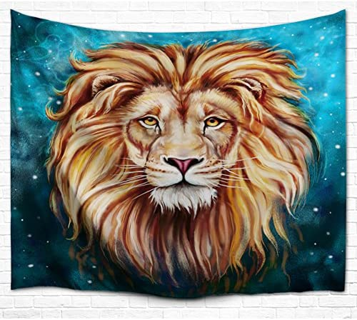Lion Pattern Tapestry Wall Hanging with Romantic Pictures Art Nature Home Decorations for Living Room Bedroom Dorm Decor Large