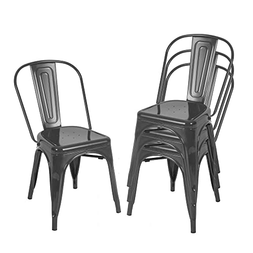 Metal Kitchen Dining Room Chairs, Stackable High Back Farmhouse Chair, Outdoor Patio Restaurant Chair,330lbs Heavy Duty, Set of 4 Black
