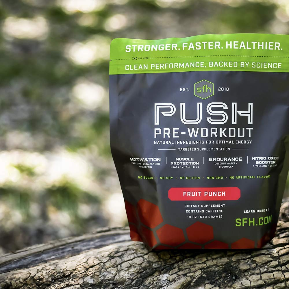 Push Pre-Workout Powder (Fruit Punch) by SFH | Best Tasting 5g BCAA's for Muscle Repair | Non-Dairy, No Artificial Flavors, Colors, or Sweeteners (Bag) by SFH (Image #3)