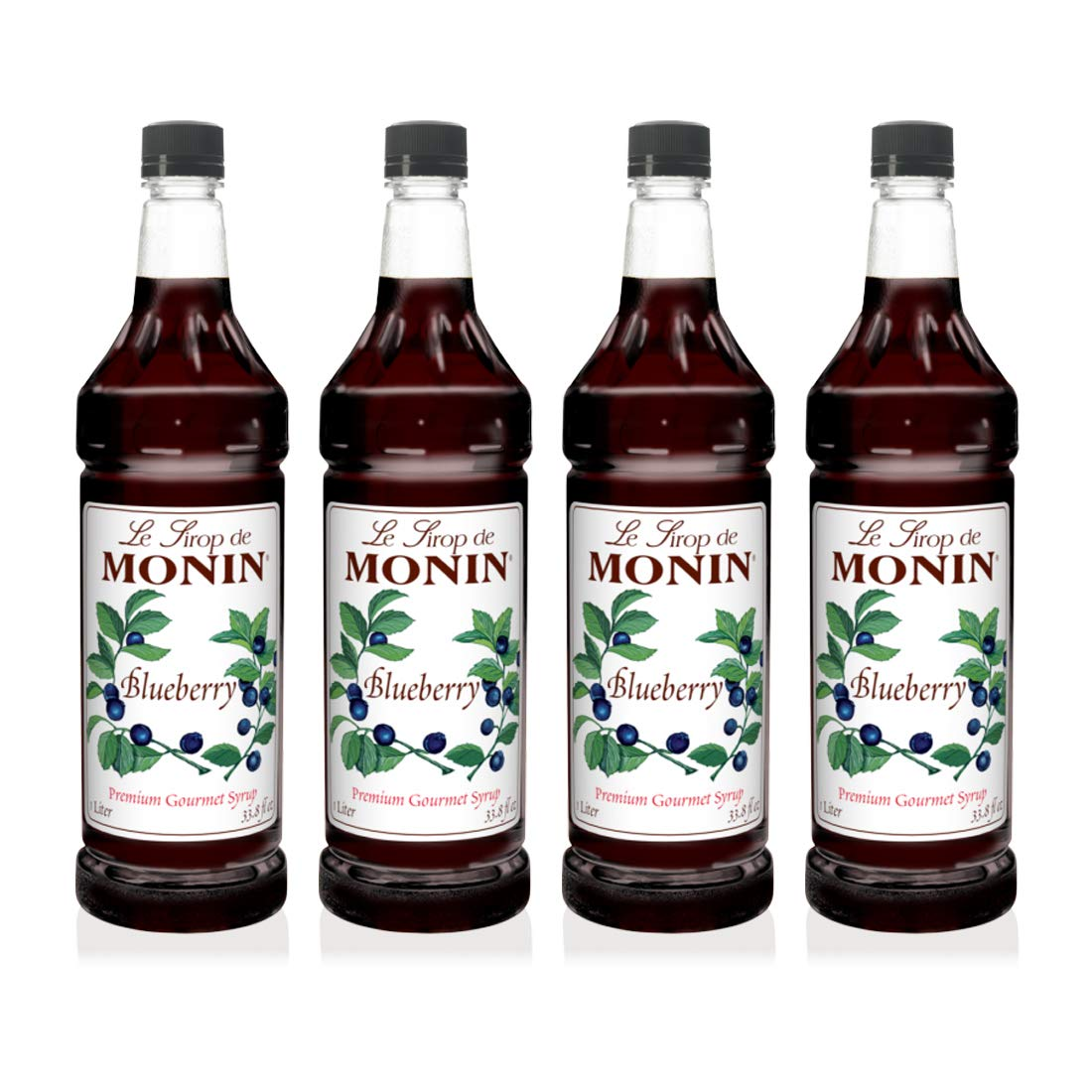 Monin - Blueberry Syrup, Mildly Sweet & Tart Blueberry Flavor, Great for Teas, Lemonades, Smoothies, & Cocktails, Gluten-Free, Non-GMO (1 Liter, 4-Pack)