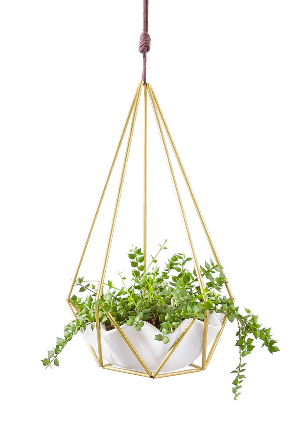 Mkono Himmeli Hanging Planter with Ceramic Plant Holder Wall Decor by Mkono