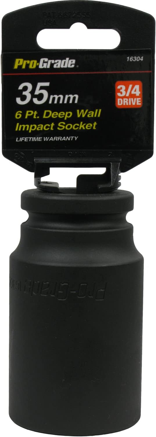 Pro-Grade 16304 3//4-Inch Drive 6 Point Deep Wall 35mm Impact Socket 1-Pack