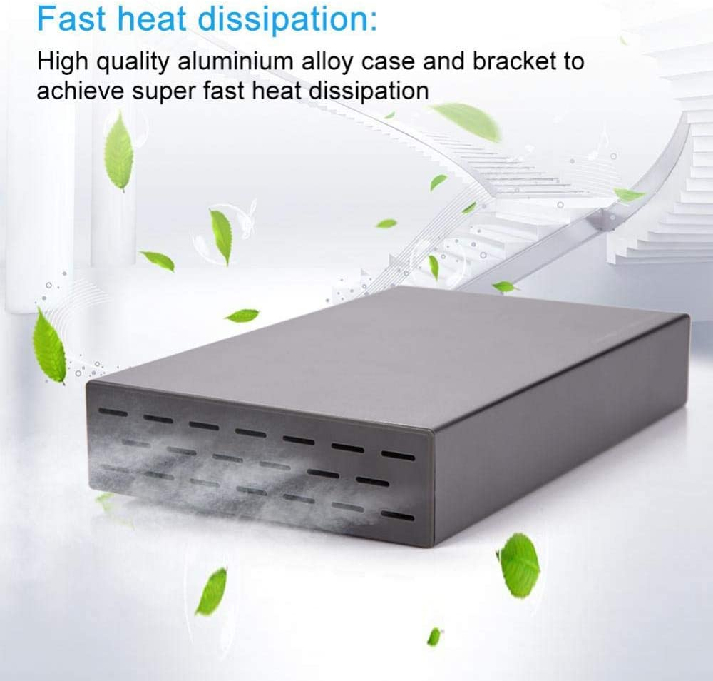 Intelligent Sleep Function Mugast 3.5inch External HDD Enclosure with 6Gbps Transmission USB 3.0 Port Fast Heat Dissipation USB 3.0 SATA HDD Case with Electronic Switch