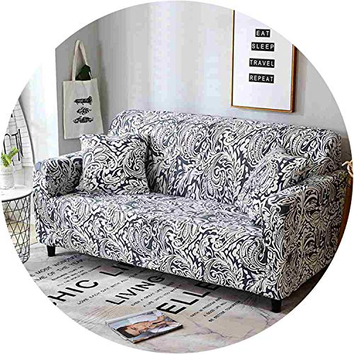 Floral Printed Sofa Cover Slipcover for Living Room Elastic Converts Cover Tight All-Inclusive Lace Edge Pattern 1/2/3/4-Seater,Onyx,Loveseat ()