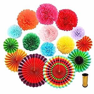 NEWFUN - Pompones de papel arcoíris, 9 colores plegables ...