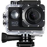 Qtuo アクションカメラ スポーツカメラ 水中撮影 30M防水 12MP 1080P フルHDカム 超広角レンズ付き 複数アクセサリー付き 自転車/オートバイ/ダイビング/水泳/スキー 対応 ブラック