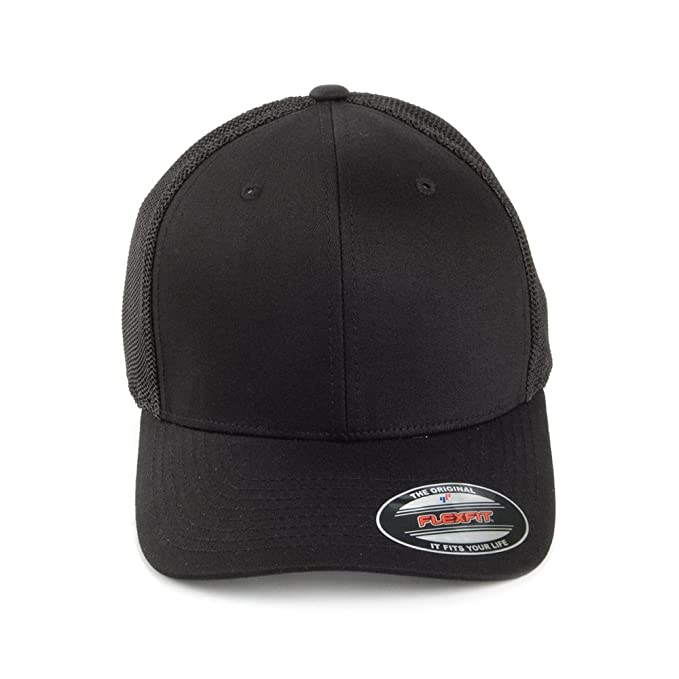 5e4dc8688d7920 Village Hats Flexfit Tonal Trucker Cap - Black 1-Size: Amazon.co.uk:  Clothing