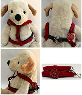 "product image for Diva-Dog 'Mistletoe' Custom 5/8"" Wide Red Velvet Dog Step-in Harness with Plain or Engraved Buckle, Matching Leash Available - Teacup, XS/S"
