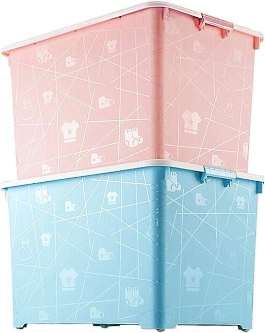 HX Cajas almacenaje Ropa Caja de Almacenamiento, de Protección Ambiental de la Caja de almacenaje, Libro Ropa de la Caja de Almacenamiento, 2 Juegos (Rosa + Azul) Cajas de plastico almacenaje: Amazon.es: