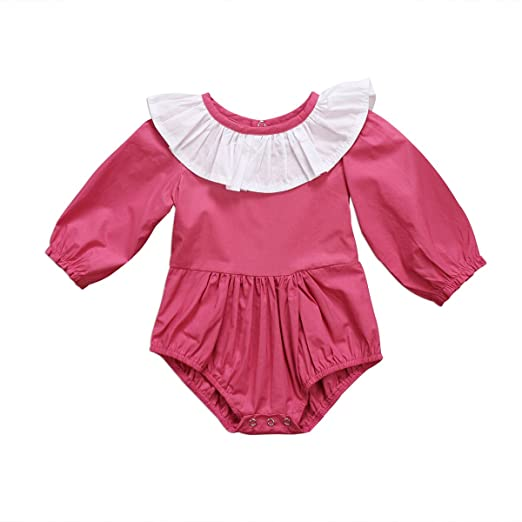 Newborn Baby Girl Long Sleeve Ruffle Romper Tops Toddlers Doll Collar  Bodysuit One-pieces Outfit 3fd0ab404