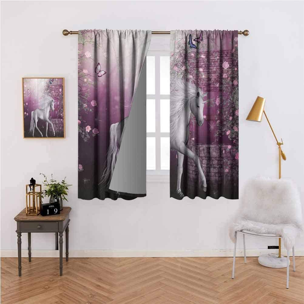 Fantasy House Decor Collection and Sizes of Blackout curtainsUnicorn in Rose Garden Summer Flying Butterflies Romance Fairy Tail Themed Art Used for Bedroom Insulation and Noise reduct