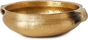 """Serene Spaces Living Gold Brass Handmade Hammered Metal Decorative Bowl– Perfect as Home Decor Counter Top Centerpiece, Use as Serving Dish, Fruit Holder, Measures 4.25"""" Tall & 12.5"""" Diameter"""