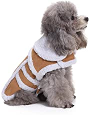 Anglewolf_Pet Shirt Coat Dog Puppy T-Shirt Tops Clothes Apparel Padded Thickening Imitation Deer Leather Jacket Costumes Cat Christmas Dress Up Hoodie(Coffee,S)