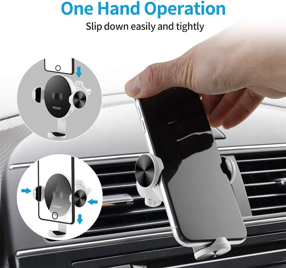 Aikwoo Qi 10W Fast Charging Auto-Clamping Air Vent Phone Holder Compatible for iPhone and Samsung Galaxy and More. Wireless Car Charger Mount