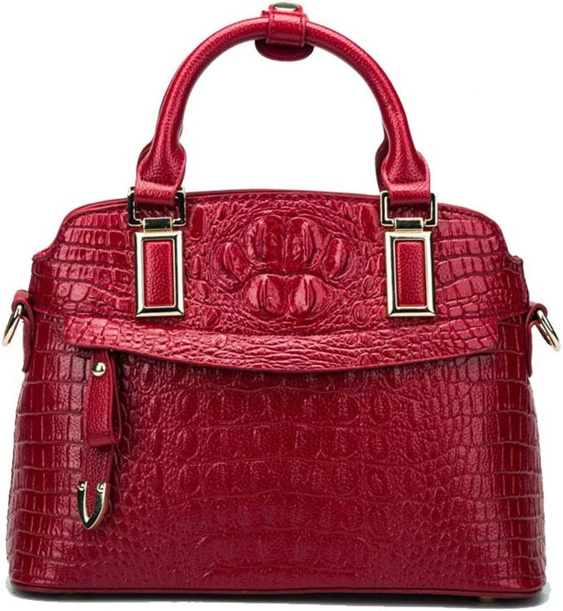LBYMYB European and American Fashion Crocodile Pattern Dumplings Package Hand Bag Color : Red